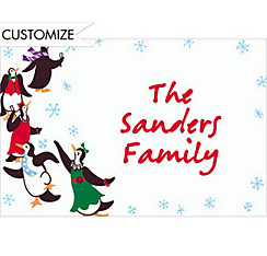 Partying Penguins Custom Christmas Thank You Note