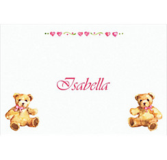 Teddy Bears with Pink Custom Baby Shower Thank You Note