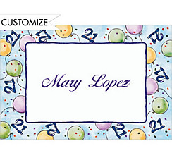 Party Balloons 21 Custom Thank You Note