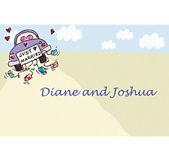 Just Married Custom Wedding Thank You Note