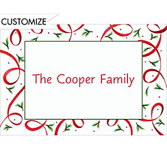 Ribbon with Pine Sprigs Custom Christmas Thank You Note