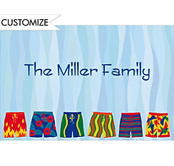 Pool Party Swim Trunks Custom Thank You Note