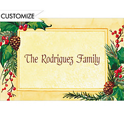 Pretty Holiday Foliage Custom Christmas Thank You Note