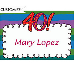 Big 40 Border Custom Thank You Note