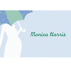 Mommy with Umbrella Blue Custom Baby Shower Thank You Note
