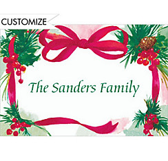 Ribbon, Bow & Sprigs Custom Christmas Thank You Note