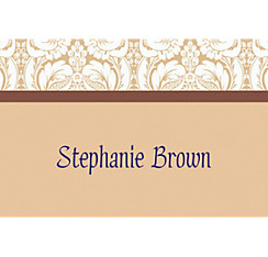 Beige Damask Custom Thank You Note