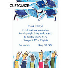 Tossing Caps Custom Invitation