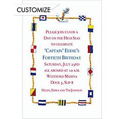 Nautical Flags Border Custom Invitation