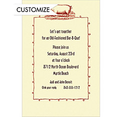 Pig Roast Border Custom Invitation