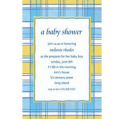 Blue & Yellow Check Custom Baby Shower Invitation