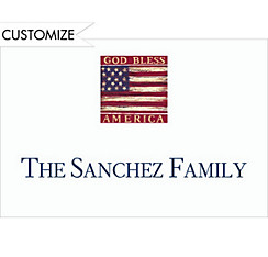 God Bless America Flag Custom Thank You Note