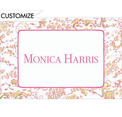 Pink & Green Toile Custom Baby Shower Thank You Note