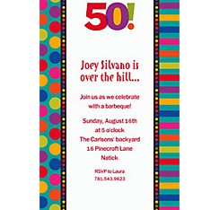 Birthday Dots & Stripes 50 Custom Invitation
