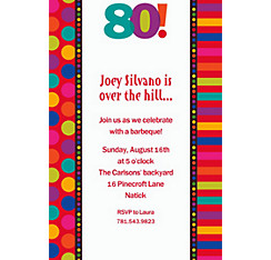 Birthday Dots & Stripes 80 Custom Invitation