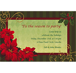 Vintage Poinsettia Custom Christmas Invitation