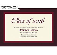 Custom Burgundy Austere Border Graduation Announcements
