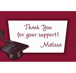 Burgundy Congrats Grad Custom Graduation Thank You Notes