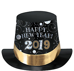 Black, Gold & Silver 2017 New Year's Top Hat