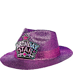 Glitter Purple Birthday Fedora