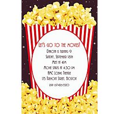 Movie Night Popcorn Custom Invitation