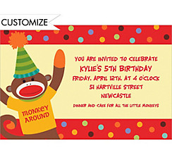 Monkey Party Custom Invitation