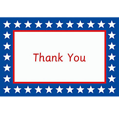 Red, White & Blue Stars Welcome Home Custom Thank You Note
