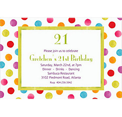 Watercolor Dots Custom Invitation