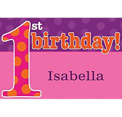 Big 1st Birthday Pink Custom Thank You Note
