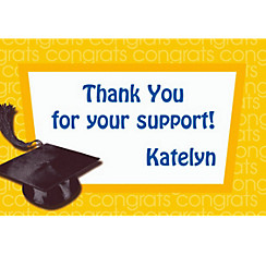 Yellow Congrats Grad Custom Thank You Notes