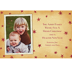 Custom Vintage Holiday Stars Christmas Photo Card