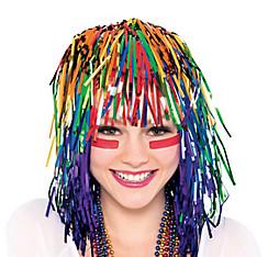 Rainbow Tinsel Wig
