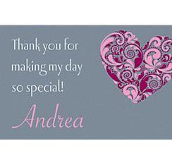 Big Heart Custom Bridal Shower Thank You Note