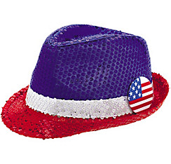 Sequin Patriotic Fedora