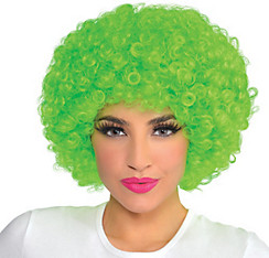 Black Light Neon Green Afro Wig