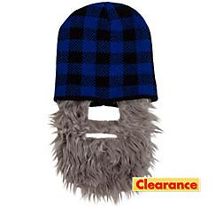 Blue Buffalo Plaid Beanie with Beard