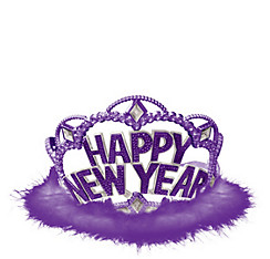 Purple Marabou New Year's Tiara