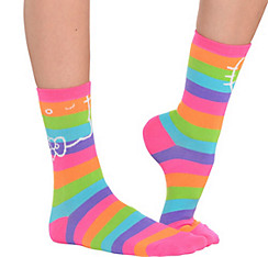Rainbow Stripe Hello Kitty Crew Socks