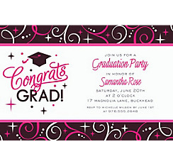 Custom Sparkling Grad Invitations