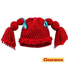 Red Rag Doll Pigtails Beanie