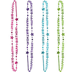 Purple & Teal Pastel Birthday Bead Necklaces 6ct