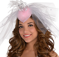 White Veil Fascinator Headband - Classy Bride