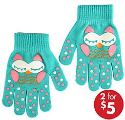 Child Blue Owl Gloves