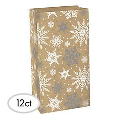Snowflake Kraft Treat Bags 12ct