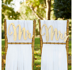 Gold Mr. & Mrs. Wedding Chair Signs