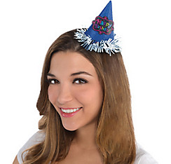 Blue Glitter Happy Birthday Mini Party Hat