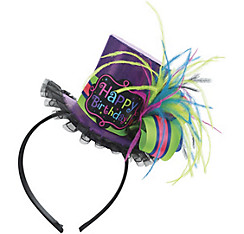 Purple Birthday Mini Top Hat Headband