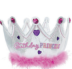 Pink Plush Birthday Princess Crown