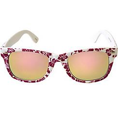 Pink Hibiscus Mirrored Sunglasses