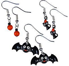 Bats & Cats Halloween Earrings Set 6pc